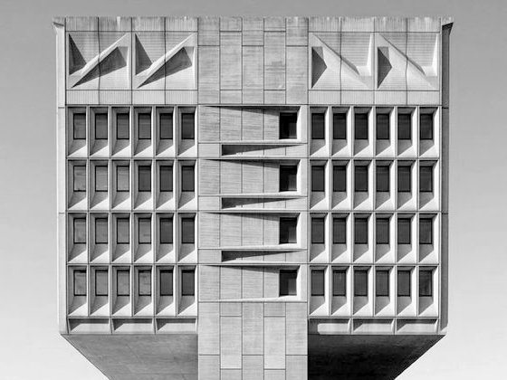 Tower of a Brutalist building