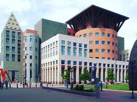 Geometrically-shaped postmodern buildings