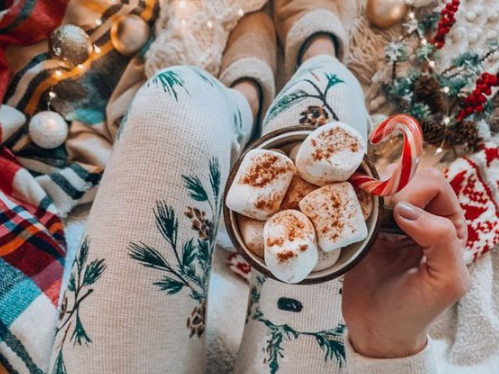Hot chocolate and cozy blanket