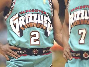 Close up of Vancouver Grizzlies uniforms
