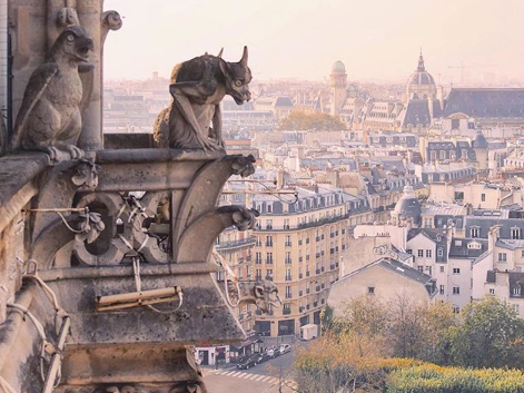 Paris from Notre Dame, with gargoyle in the foreground